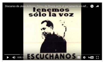 Audio: Discurso Jose Antonio Primo de Rivera,referencia a Cataluña.
